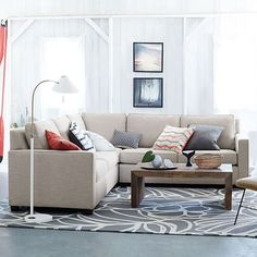 Tile Dhurrie Rug + Rustic Storage Media Console + Jackson Sectional + Bazaar Pouf from west elm   Spotted West Elm Customer Favorites   Pinterest   Dhurrie ... : henry sectional - Sectionals, Sofas & Couches