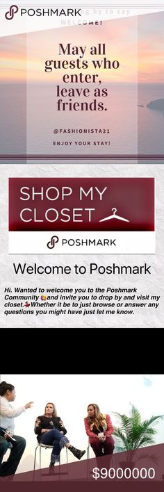 Welcome to my closet Hi! Welcome to Poshmark! I've been buying and selling on here for years and would like to welcome you to the community.   If you ever have any questions or are just looking to shop, please, stop by my closet. Offers always welcome and appreciated. Thanks and have a great day. Also if there is something you would like to see listed, please place your request here. I sell my own items, my family, consign for charities and love to treasure hunt. Fashionista21 Other
