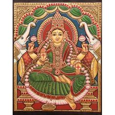 Tanjore Painting, Online Painting, Swarovski Jewelry, Art Online, 16th Century, Indian Art, Goddesses, Handicraft, Folk