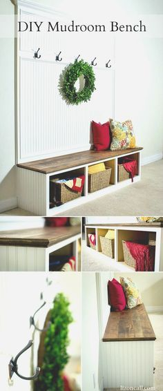 Details and tutorial to make a DIY mudroom bench to store all those backpacks, jackets and shoes.