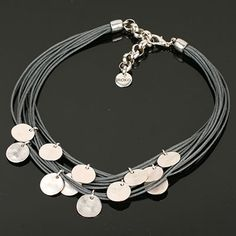 Grey Multi Strand Necklace with Silver Discs. www.shazbamdecor.com Handcrafted Jewelry, Handmade, Multi Strand Necklace, Jewelry Crafts, Jewelry Making, Grey, Bracelets, Silver, Design