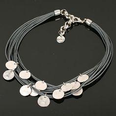 Grey Multi Strand Necklace with Silver Discs. www.shazbamdecor.com