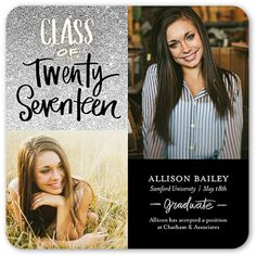 Graduation Announcements: Glistening Graduate,  Announcement, Rounded Corners, Grey