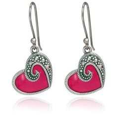 Sterling Silver Marcasite and Red Enamel Heart Wire Earrings: Jewelry ($23) ❤ liked on Polyvore
