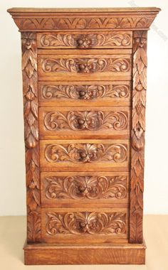 Victorian Carved Oak Wellington Chest - Antiques Atlas. Lovely colour. A nice piece of antique furniture.