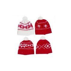 4 Bonnets Jacquard à suspendre Coloris rouge et blanc Dimensions: 9.5x10 cm Tricoté laine en vente sur la boutique de décoration Lilie Rose Déco. Nous proposons sur notre site un grand choix d'objets