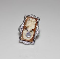 Art Deco 14k White Gold Filigree Habille Diamond Cameo Ring