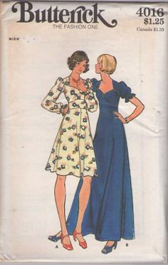 Butterick 4016 Vintage 70's Sewing Pattern BEAUTY Boho Sweetheart Neckline, Wide Empire Midriff Waist Secretary Novelty Print Dress, Evening Maxi Formal Gown #MOMSpatterns Vintage Long Dress, Vintage Dresses, Vintage Outfits, Vintage Dress Patterns, Clothing Patterns, 70s Fashion, Vintage Fashion, Victorian Corset, Novelty Print