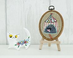 Whimsical artwork and embroideries of Louise A. by LouiseAEllis Etsy Embroidery, Hanging Chair, Whimsical, Trending Outfits, Unique Jewelry, Handmade Gifts, Illustrations, Artwork, Vintage