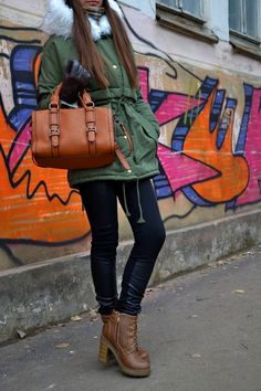 casual style, parka, booties, bag