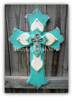 Medium Wall CROSS Antiqued Turquoise & White with silver top cross, by Happy Goose