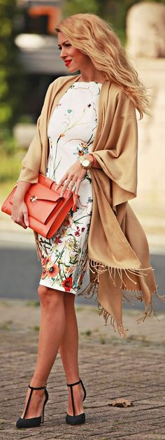 Floral Midi Dress Camel Fringe Cape Cardi Fall Inspo by Fashion Painted Dreams