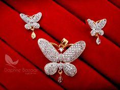 Daphne Designer Butterfly Zircon Pendant Set for Women – Buy Indian Fashion Jewellery Pendant Earrings, Diamond Earrings, Jewellery Designs, Fashion Jewellery, Pendant Set, Indian Fashion, Butterfly, Brooch, Jewels
