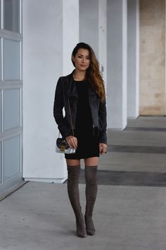 www.streetstylecity.blogspot.com Fashion inspired by the people in the street ootd look outfit sexy otk boots miniskirt