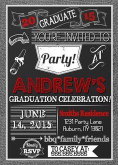Modern boys graduation party invites, burlap and red graduation invitations, very modern graduation party invites, custom colors & options