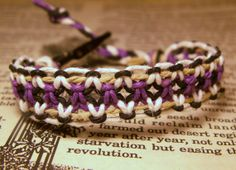 Purple Natural Black and White Roach Clip Macrame Hemp Bracelet $8.40