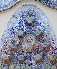 Gaudi's mosaic at Casa Batllo, Barcelona, Spain
