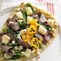 This tasty Greek-Style Pizza is ready in just 25 minutes! More fast-fix weeknight suppers: http://www.bhg.com/recipes/quick-easy/dinners-30-minutes-less/fast-fix-weeknight-suppers/?socsrc=bhgpin061513greekpizza=24