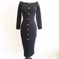 """new   Black Off Shoulder Gold Button Midi Dress S Sexy fitted dress features wide neckline, fitted silhouette, gold anchor buttons down the front, midi length, 3/4 sleeves and front slit. Button are just decorative (no button holes).     size small (runs a little small -- check measurements)     34"""" bust   26"""" waist   36"""" hips   18.5"""" sleeve length   40"""" length     new without tags and never worn Dresses Midi"""