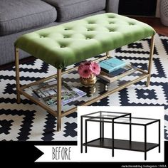 ikea hack, nesting table to ottoman. great little stuffed coffee table