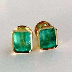 8284ca46a 2.47ct AAA Natural Green Colombian Emerald Stud Earrings 18k Yellow Gold
