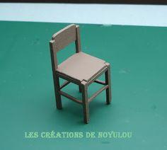 DIY 1950s retro miniature dollhouse chair. Illustrations of pieces.  Source: LES CREATIONS DE NOYULOU