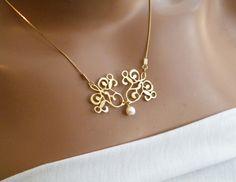 Pearl pendant elegant pearl necklace Wedding jewelry - Bride jewelry. $64.00, via Etsy.