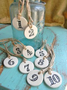 Clay HandStamped Number Tags 110 by SimpleHomeLife on Etsy