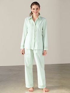 This sweet pajama set is detailed with lace for a feminine touch, and its subtle cotton dobby texture effects a crisp look with surprising softness. #wintersilks #pajamas