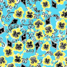 Kappy Alpha Theta Lilly Pulitzer print: black and gold, kites, pansies, and stars.