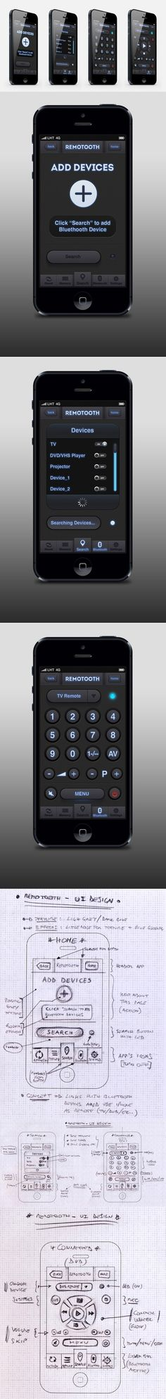 """""""REMOTOOTH"""" - UI Design for iPhone by Tobia Crivellari, via Behance"""