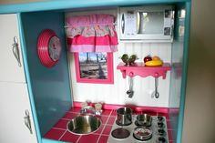 childrens play kitchen out of entertainment center | Doubletake Decor: Play Kitchen Made From An Old Entertainment Center