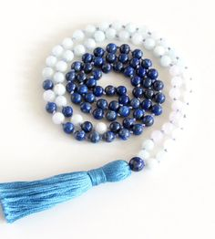 Lapis Lazuli Mala Necklace 108 Mala Lapis Lazuli Aquamarine and Moonstone Mala…