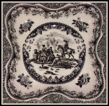 French Black and Cream Country Transferware Toile Bowl