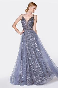 This gorgeous long dress features an A-line glitter gown with deep plunging neckline and open back. This dress is perfect for prom party or any special occasion. A Line Prom Dresses, Homecoming Dresses, Formal Dresses, Bridesmaid Dresses, Wedding Dresses, Fantasy Gowns, Gown Pattern, Embellished Gown, Cinderella Dresses