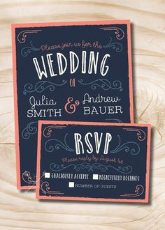 Navy and Coral Vintage Scroll Poster Style Rustic Wedding