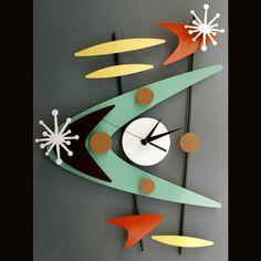 "Clock ""STEVOTOMIC"" Fabulous fifties inspired dimensional metal sculpture!"