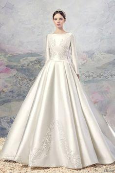 papilio 2016 bridal long sleeves bateau neckline heavily embellished bodice satin princess ball gown a  line wedding dress chapel train (1601) mv