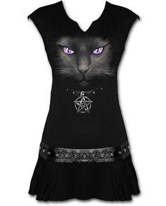 Gothic Goth Shirt Top Spiral Girlie Longshirt Black Cat S bis XL New Rock Boots, Goth Accessories, Gothic Boots, Punk Dress, Angel Outfit, Estilo Rock, Mini Robes, Black Goth, Viscose Dress