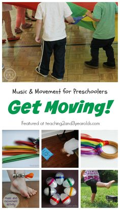 Music and Movement for Preschoolers to get toddlers moving around, great indoor activity ideas by Teaching 2 and 3 Year Olds