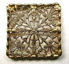 "Square Antique Pierced Brass Button Fancy Filigree Floral Design 1 & 5/8"""