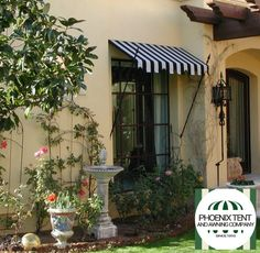 ABOUT SPEAR POINT AWNINGS: Spear Point awnings add architectural interest and can complement many home styles. Spear Point awnings shade windows, door areas, and patio spaces from harsh, direct sunlight. #curbappeal #homedecor
