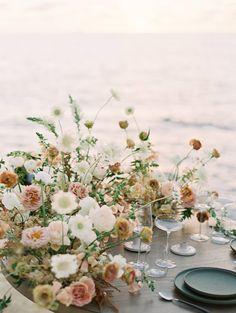 Coastal Wedding Flowers, Bright Wedding Colors, Boho Beach Wedding, Wedding Reception Flowers, Botanical Wedding, Floral Wedding, Coastal Wedding Ideas, Herb Wedding Centerpieces, Centrepieces