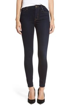Get rid of muffin top with high waisted jeans.   Hudson Jeans 'Barbara' High Rise Skinny Jeans (Delilah) available at #Nordstrom