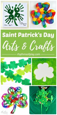 Saint Patricks Day Craft Ideas & Art Projects for Kids! Teach kids the difference between a shamrock and a four leaf clover with this fun collection of shamrock art projects, crafts, and lucky clover activities! St Patrick's Day Crafts, Easy Crafts, Diy And Crafts, Arts And Crafts, Paper Crafts, Daycare Crafts, Creative Crafts, Preschool Crafts, Kids Crafts