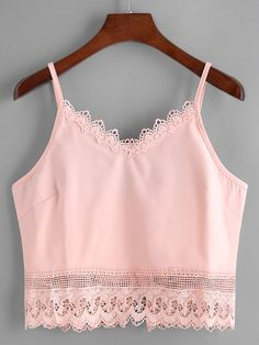 Shop V Neckline Lace Trim Cami Top online. SheIn offers V Neckline Lace Trim Cami Top & more to fit your fashionable needs.
