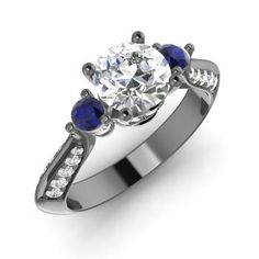 Round VVS Diamond Engagement Ring in 14K Black Gold with Sapphire,SI Diamond,SI Diamond