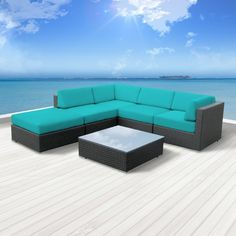Luxxella Outdoor Patio Wicker Beruni Turquoise Sofa Sectional Furniture 6pc All Weather Couch Set · Mbox · Online Store Powered by Storenvy