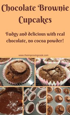 Chocolate Brownie Cupcakes- very fudgy and delicious. Made with real chocolate not cocoa powder.