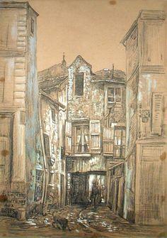 Combes Fernand - Charcoal, gouache - Fontenay aux Roses - ~37x27cm; ce dessin date très probablement de 1911 ou proche, car il a été établi que Combes avait habité Fontenay aux Roses cette année là; il pourrait s'agir de la cour intérieure du 24 rue Boucicaut (à confirmer).